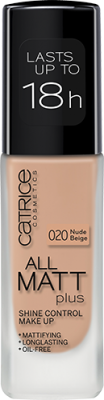 Основа тональная CATRICE All Matt Plus Shine Control Make Up 020 Nude Beige бежевый