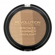 Палетка бронзера и хайлайтера MakeUp Revolution Ultra Bronze, shimmer and highlighter: фото