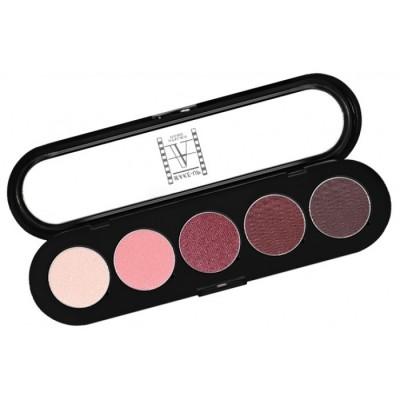 Палитра теней Make-Up Atelier Paris T16 5 цветов вишневые с переливом тона: фото