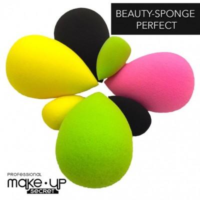 Бьюти-спонж PERFECT+mini в наборе MAKE-UP-SECRET (розовый, черный, желтый, зеленый): фото