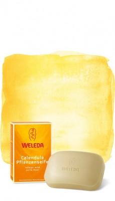 Растительное мыло с календулой и лекарственными травами 100 г WELEDA: фото