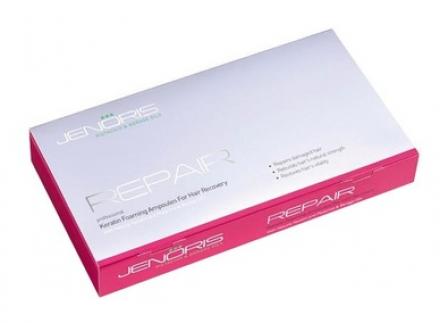 Интенсивный курс для восстановления волос Jenoris Keratin Foaming Ampoules for Hair Recovery 8*10мл: фото