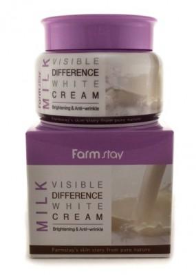 Крем для лица увлажняющий с экстрактом молока FARMSTAY Visible difference white cream (milk) 100г: фото