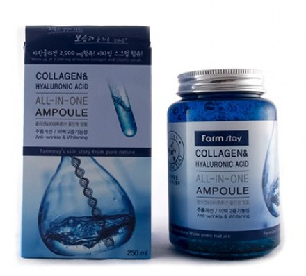 Ампульная сыворотка с гиалуроновой кислотой и коллагеном FARMSTAY Collagen & hyaluronic acid all-in-one ampoule 250 мл: фото