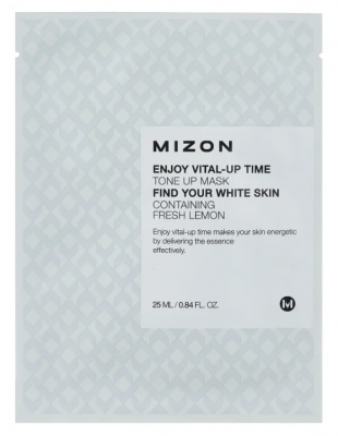 Тканевая маска осветляющая MIZON Enjoy Vital Up Time Tone Up Mask 25мл: фото