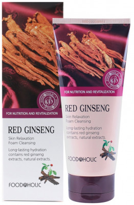 Пенка для умывания с красным женьшенем FoodaHolic Red Ginseng Skin Relaxing Foam Cleansing 180мл