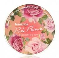 Компактная пудра с экстрактами цветов FARMSTAY Pinky flower blooming UV pact SPF50 12г*2шт: фото
