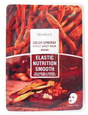 Маска с восточными травами и женьшенем DEOPROCE Color synergy effect sheet mask brown 20г: фото