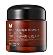 Многофункциональный крем с 92% экстрактом слизи улитки MIZON All in one snail repair cream 75мл: фото