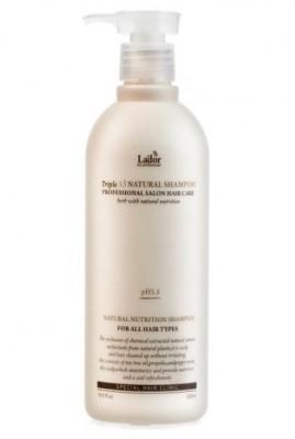 Шампунь с протеинами шелка и кератином LA'DOR Triplex natural shampoo 530мл: фото