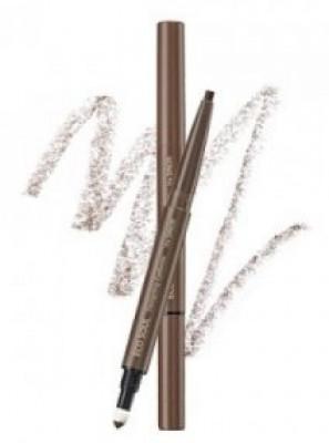 Карандаш для бровей 3 в1 THE SAEM Eco Soul Designing Eyebrow 01 Brown 0,2г+0,12г: фото