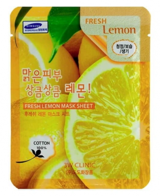 Тканевая маска для лица с экстрактом лимона 3W CLINIC Fresh Lemon Mask Sheet 23мл: фото