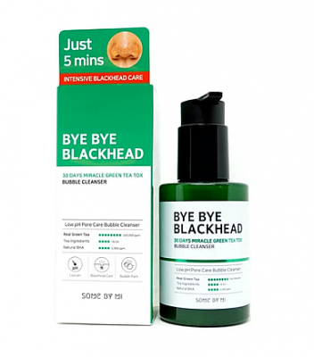 Пенка-маска от черных точек SOME BY MI BYE BYE BLACKHEAD 30 DAYS MIRACLE GREEN TEA TOX BUBBLE CLEANSER 120г: фото