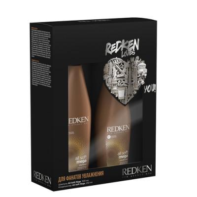 Набор для волос Redken All Soft Mega: шампунь 300 мл + кондиционер 200 мл: фото
