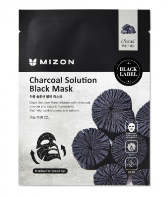 Тканевая маска c древесным углем Mizon Charcoal Solution Black Mask 25г: фото