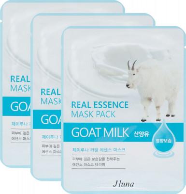 Тканевая маска с козьим молоком Juno JLuna Real Essence Mask Pack Goat Milk 25мл*3шт: фото