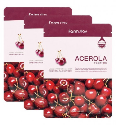 Маска с экстрактом ацеролы FarmStay Visible Difference Mask Sheet Acerola 23мл*3: фото