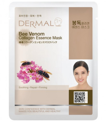 Тканевая маска пчелиный яд и коллаген Dermal Bee Venom Collagen Essence Mask 23 мл: фото