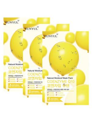 Набор тканевых масок с коэнзимом Q10 EUNYUL NATURAL MOISTURE MASK PACK COENZYM 22мл*3: фото