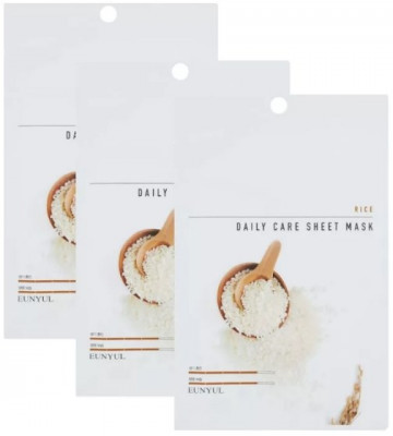 Набор тканевых масок с экстрактом риса EUNYUL RICE DAILY CARE SHEET MASK 22г*3шт: фото