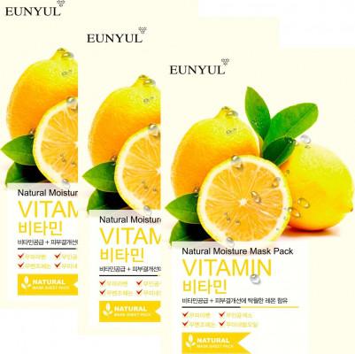 Набор тканевых масок с витаминами EUNYUL NATURAL MOISTURE MASK PACK VITAMIN 22мл*3 шт: фото