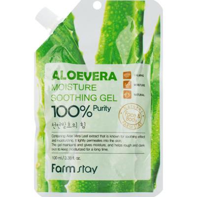 Гель для лица и тела увлажняющий успокаивающий с экстрактом алоэ FarmStay Moisture Soothing Gel Aloevera 100мл: фото