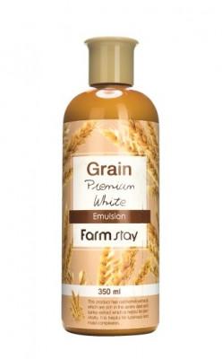 Эмульсия выравнивающая с экстрактом ростков пшеницы FarmStay GRAIN PREMIUM WHITE EMULSION 350мл: фото