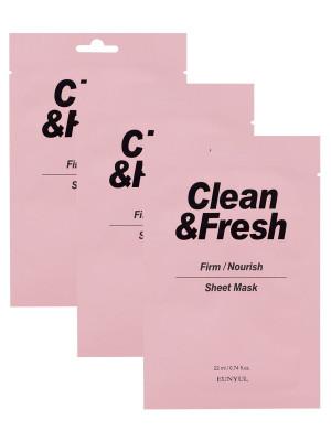 Набор тканевых масок для питания и укрепления кожи EUNYUL CLEAN & FRESH FIRM-NOURISH SHEET MASK 22мл*3: фото