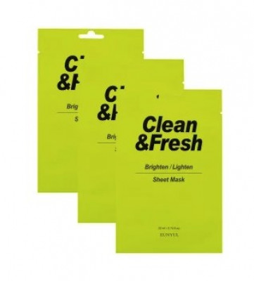 Набор тканевых масок для здорового цвета лица EUNYUL CLEAN&FRESH BRIGHTEN/LIGHTEN SHEET MASK 22мл*3: фото