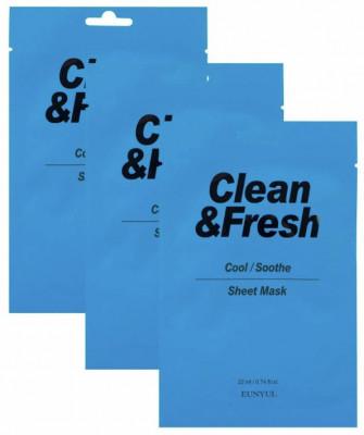 Набор тканевых масок для охлаждающего и успокаивающего эффекта EUNYUL Clean & Fresh Cool/Soothe Sheet Mask 22мл*3: фото