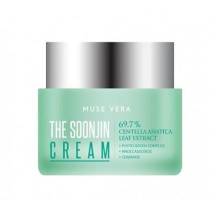 Успокаивающий крем с центеллой азиатской Deoproce MUSE VERA The Soonjin Cream 50мл: фото