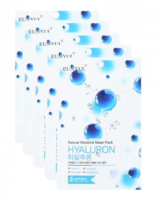 Набор тканевых масок с гиалуроновой кислотой EUNYUL NATURAL MOSTURE MASK PACK HYALURON 22мл*5шт: фото