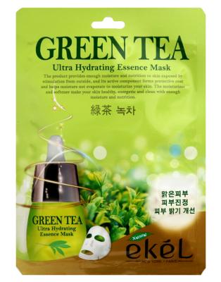 Тканевая маска для лица с экстрактом зеленого чая EKEL Green Tea Ultra Hydrating Essence Mask 25г: фото