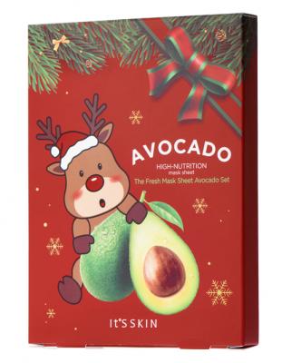 Новогодний набор тканевых масок с авокадо It's Skin The Fresh Mask Sheet Avocado GLOBAL NEW YEAR 21г*5 шт: фото