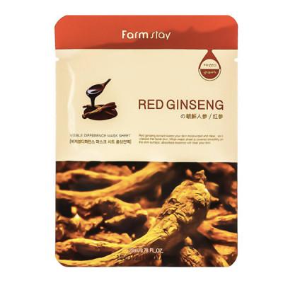 Тканевая маска с экстрактом красного женьшеня FARMSTAY RED GINSENG VISIBLE DIFFERENCE MASK SHEET 23мл: фото