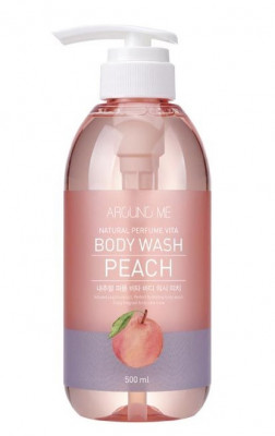 Гель для душа с экстрактом персика WELCOS AROUND ME Natural Perfume Vita Body Wash Peach 500мл: фото