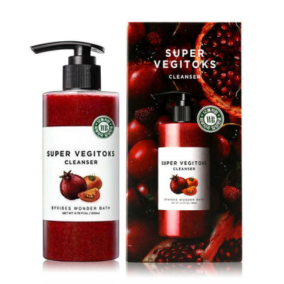 Очищающий осветляющий детокс-гель для жирной кожи Wonder Bath SUPER VEGITOKS CLEANSER [RED] 300ml