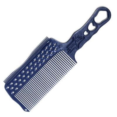 Расчёска с ручкой и зубцами на обушке с направляющей рельсой для стрижки под машинку Y.S.PARK синий